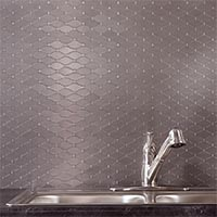 Matted Metal Tile Wide Hex in Brushed Stainless glam