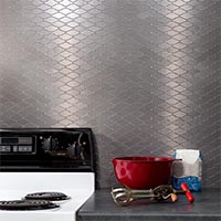 Matted Metal Tile Wavelength in Brushed Stainless glam