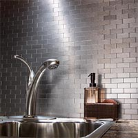 Matted Metal Tile Mini Subway in Brushed Stainless glam