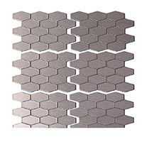 Matted Metal Tile Wide Hex in Brushed Stainless