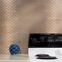 Matted Metal Tile Wide Hex in Champagne glam