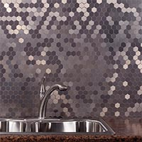 Matted Metal Tile Honeycomb in Brushed Stainless glam