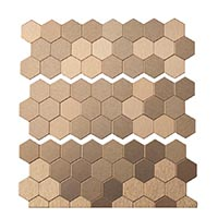 Matted Metal Tile Honeycomb in Champagne