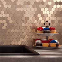 Matted Metal Tile Honeycomb in Champagne glam